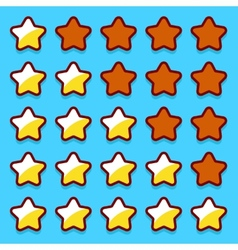 Yellow game rating stars icons buttons vector