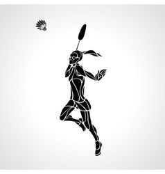 Badminton player female abstract silhouette vector image