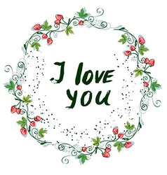 Love you postcard with nice floral design and vector image
