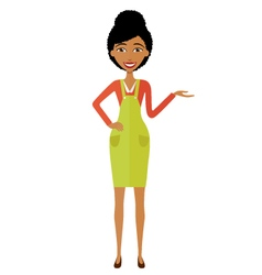 African woman presenting something cartoon vector