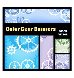 Banners with gears vector