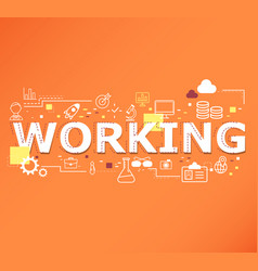 creative of working word lettering typography vector image