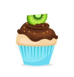 Sweet cupcake with chocolate glaze vector