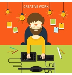 Creative work and designer tools concept vector