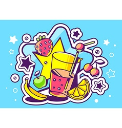Glass of juice with fruits on blue backgr vector