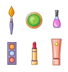 Set of flat beauty and makeup icons vector