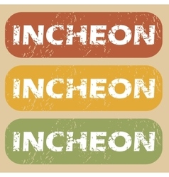 Vintage incheon stamp set vector