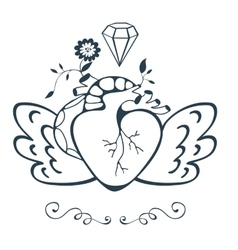 Vintage style emblem with human heart with wings vector