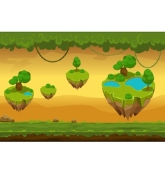 Horizontal seamless cartoon fantastic forest vector