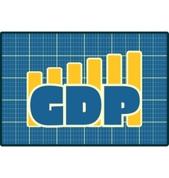 Gdp grow up sticker on chart diagram vector
