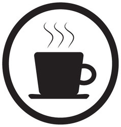 Tea and coffee cup icon black white vector