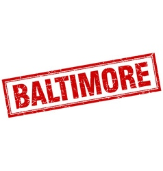 Baltimore red square grunge stamp on white vector