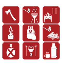Set of tourism equipment icons vector