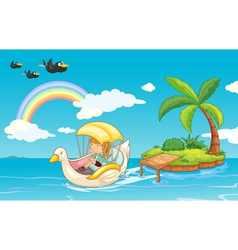a girl in a boat vector image vector image