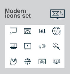 Advertising icons set collection of ppc keyword vector