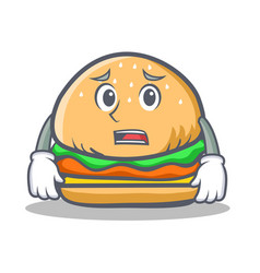 afraid burger character fast food vector image vector image