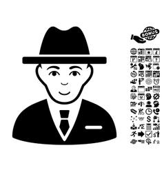 Agent flat icon with bonus vector