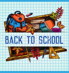 Back to school sketch pattern poster vector