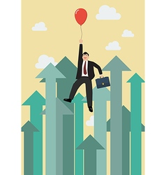 Businessman flying with red balloon against vector image