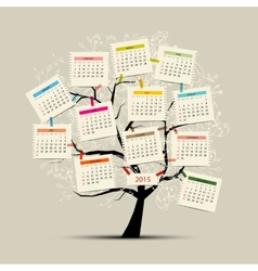 Calendar tree 2015 for your design vector image vector image