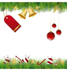Christmas Card Ornament hanging on the tree vector image vector image