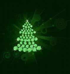 Christmas tree of green diamonds vector image