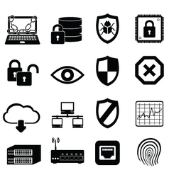 Computer virus and cyber security icon set vector
