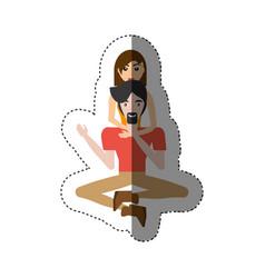Couple love sitting in floor shadow vector