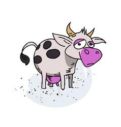 cow cartoon hand drawn image vector image