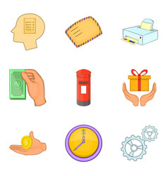 Direct mailing icons set cartoon style vector