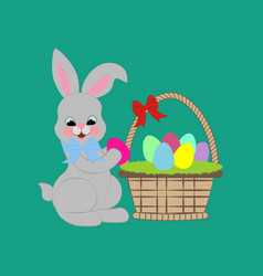 easter rabbit with basket vector image vector image