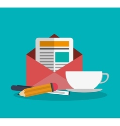 Envelope pencil pen and cup design vector