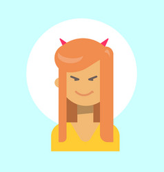 Female with devil horns emotion profile icon vector