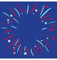 Fireworks ball star and strip blue background vector