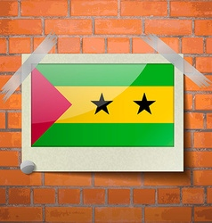 Flags Sao Tome Principe scotch taped to a red vector image