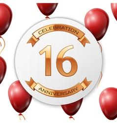 Golden number sixteen years anniversary vector