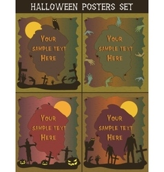 Halloween posters set invitation templates for vector