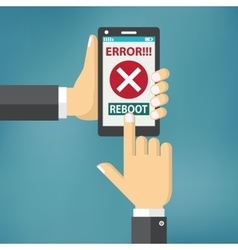 Hand hold smart phone with error on the screen vector image