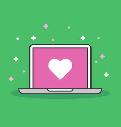 laptop with heart icon modern flat vector image vector image
