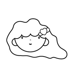Line beauty girl face with hairstyle to kawaii vector