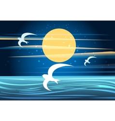 Night seascape vector