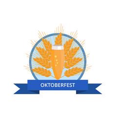 oktoberfest logo with pilsner glass of beer on ear vector image