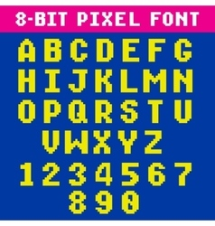 Retro video game pixel letters and numbers font vector
