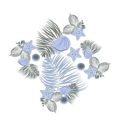 Sea shell elements composition flat seashell vector
