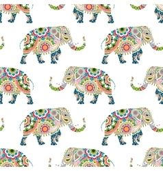 Seamless pattern of colorful elephants vector image vector image