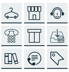 Set of 9 commerce icons includes callcentre vector