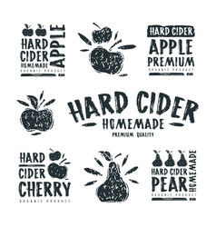 set of hard cider label and logo vector image vector image