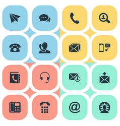 Set of simple contact icons vector