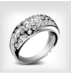 Silver wedding ring and diamonds vector