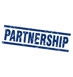 Square grunge blue partnership stamp vector